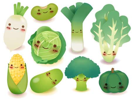 elote caricatura: Frutas y verduras Colección
