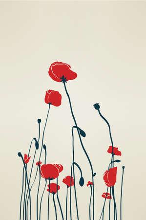 mák: Vintage Poppy Ilustrace