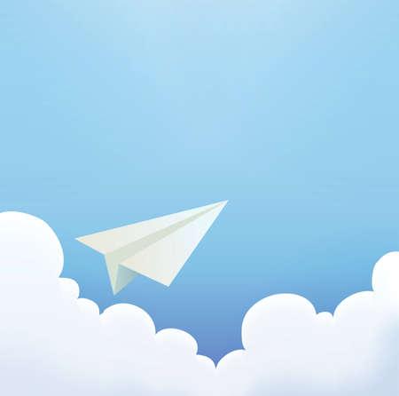 Paper Plane in The Sky  Vector