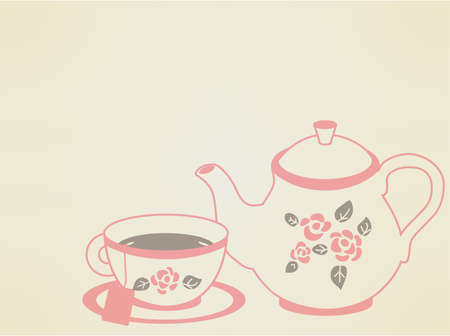 camomile tea: Vintage Tea Pot Set Illustration