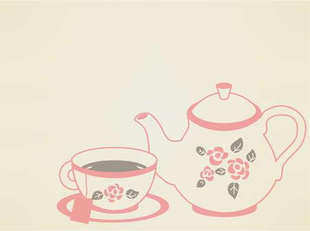 tea rose: Vintage Tea Pot Set Illustration