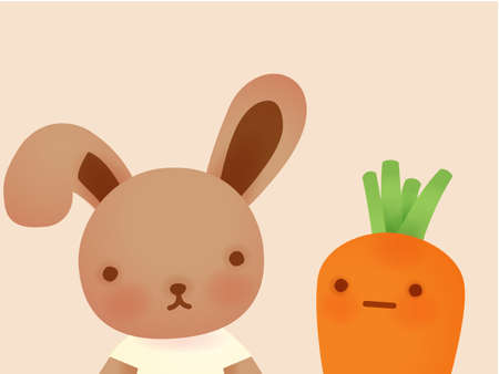 Cute Rabbit and Background Vector