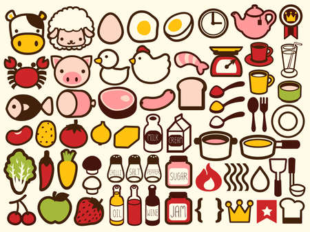 huevo caricatura: 50 Comida y Bebidas Icono Vectores
