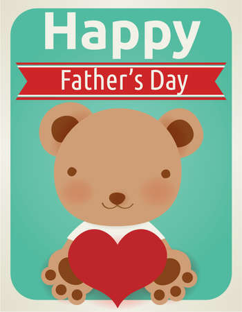 teddy bear love: Happy fathers day card