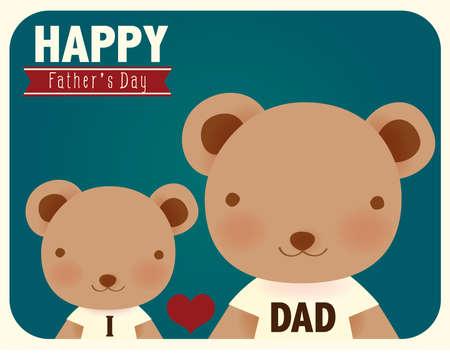 teddy bear love: Happy fathers day card   Illustration