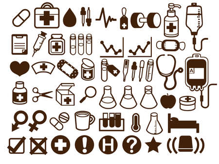 50  Medical and Healthcare Icon Vectores