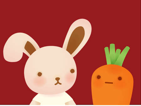 Cute Rabbit and Carrot  Vector