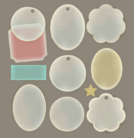 sheer: Transparent paper label in various shape , ready for your message Illustration