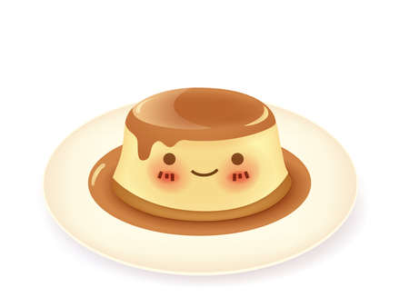 Caramel custard pudding  Vector
