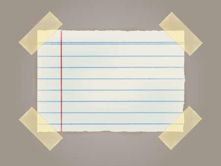 sticky tape: Nota Los papeles con una cinta adhesiva pegada a la pared