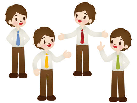 set of businessman: Set of cartoon businessman in various poses