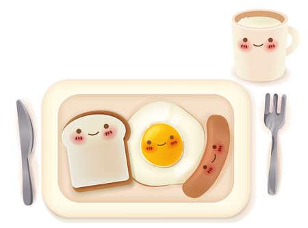 Set of Lovely Breakfast