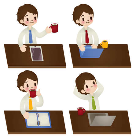 Set of cartoon businessman in various poses Vector