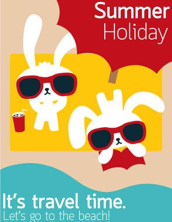 Chic Rabbit on The Beach in Summertime  Illustration