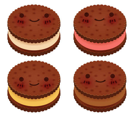 Cute Ice Cream Sandwich Collection  Vector