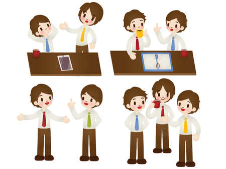 Businessman in various pose  Vector