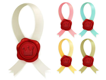 Collection of red sealing wax  Vector