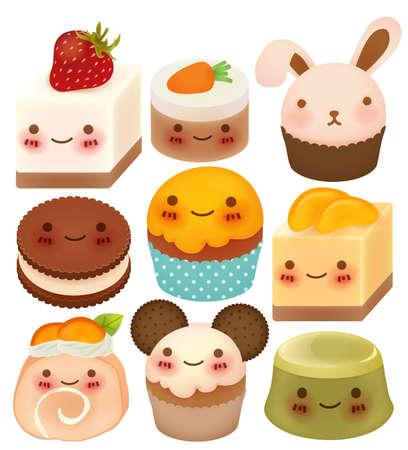 Sammlung von niedlichen Dessert Standard-Bild - 20892880