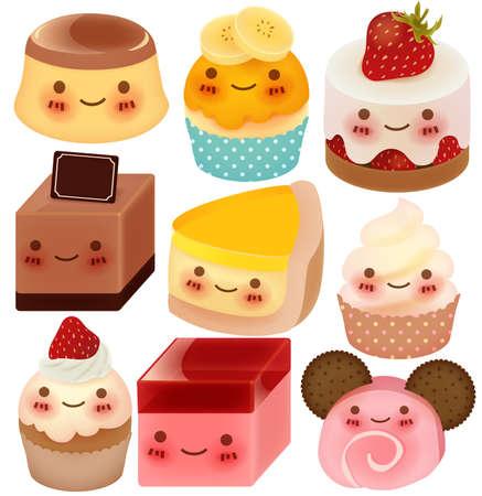 pietanza: Raccolta di simpatici Dessert Vettoriali