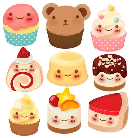 kawaii: Collection of Cute Dessert  Illustration