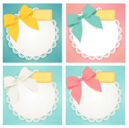 girls with bows: Cute gift box  Illustration