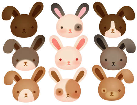 rabbit ears: Collection of Cute rabbit  Illustration