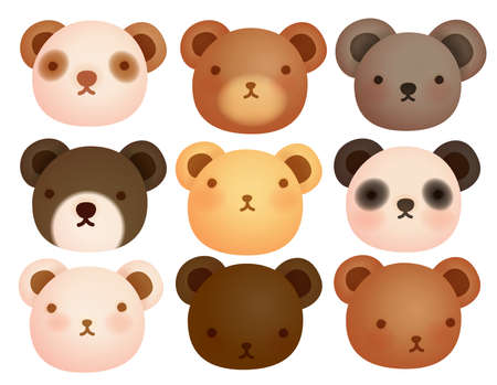 oso caricatura: Colección de lindo oso Vectores