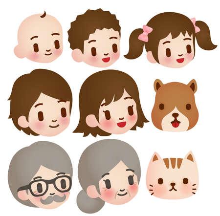 аниме: Коллекция милый семейный характер Иллюстрация