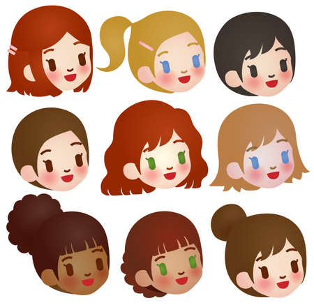 Collection of Cute Multi Ethnic Character  Illustration
