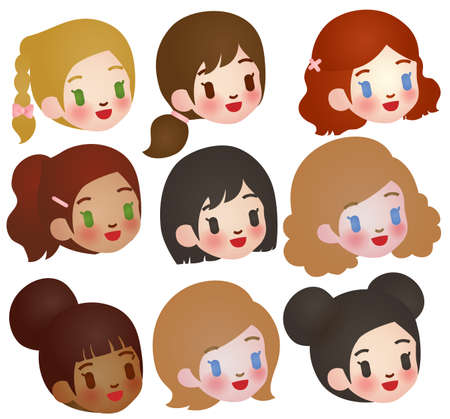 multi ethnic: Collection of Cute Multi Ethnic Character Illustration