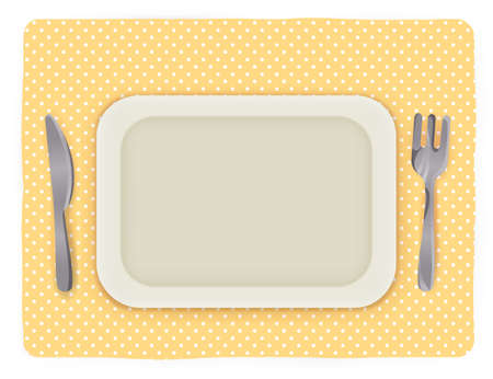 食べ物: ナイフとフォークで空のプレート