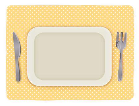 mat: Tom tallrik med kniv och gaffel