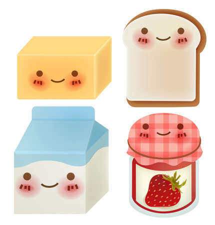 toast bread: Set of Lovely Breakfast