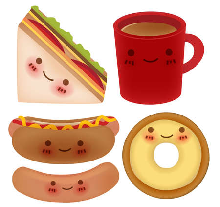Set of Lovely Breakfast Vector