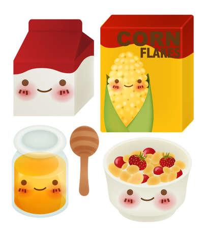 corn flakes: Set of Lovely Breakfast