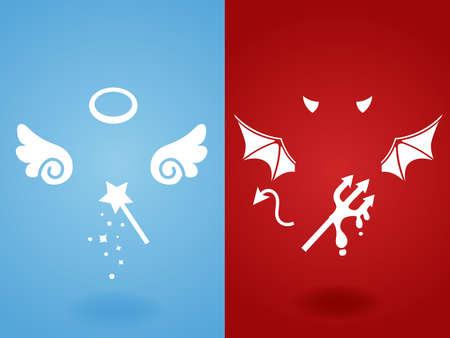 teufel engel: Angel Devil Konzept Illustration