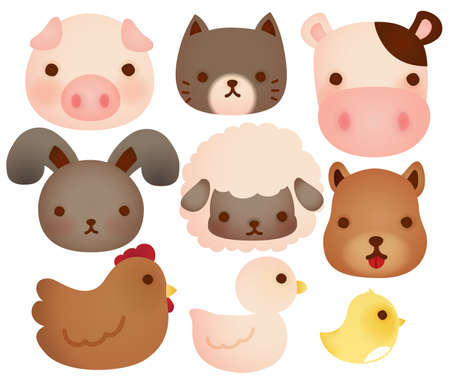 Collection of cute farm animals  Vector