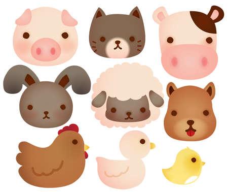 Sammlung von cute Nutztieren Standard-Bild - 21167908