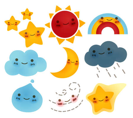 kawaii: Collection of weather Icon - Vector File Illustration