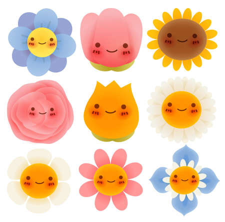 summer cartoon: Collection of Cute Flowers - Vector File