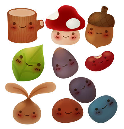 iconography: Collection of cute forest item - Vector File Illustration