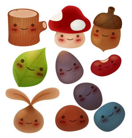 Collection of cute forest item - Vector File Ilustração