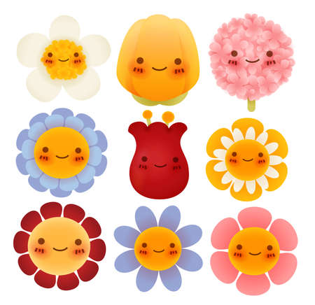 Collection of Cute Flowers - Vector File Vector
