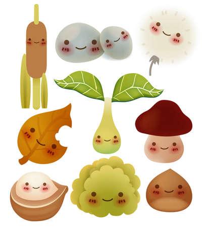 flor caricatura: Colección del tema bosques cute - archivo vectorial