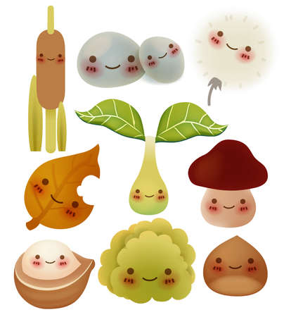 mushroom illustration: Collection of cute forest item - Vector File Illustration