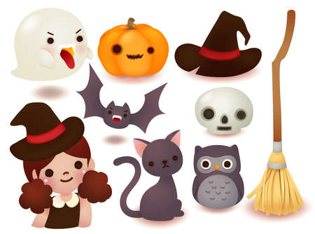 Collection of cute halloween icon  Vector