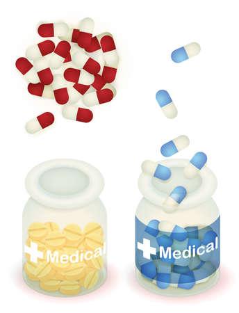 sobredosis: Píldora de la cápsula y la tableta en la botella clara