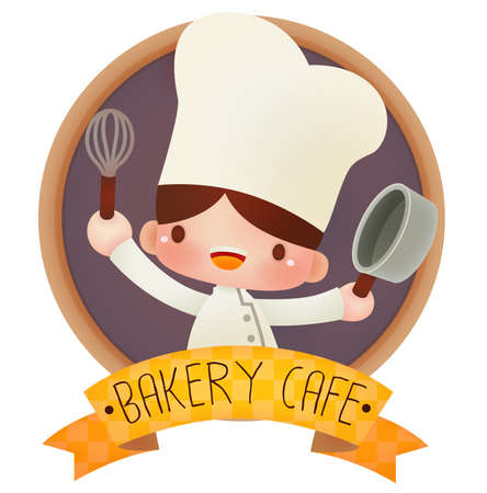 feminine: Cute cartoon chef  Illustration