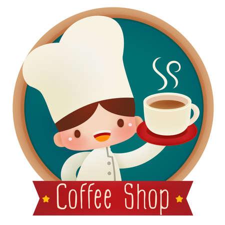 cartoon food: Cute cartoon chef  Illustration