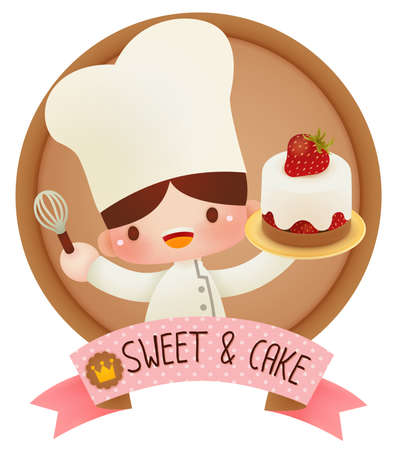 baby stickers: Cute cartoon chef